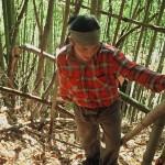 Alcvin harvesting bamboo in Nagao in 2003