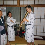 Peter Smith playing jinashi at Rryokan in Nagano after taketori