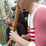 Lauren playing an Edo Period shakuhachi at Shimura Zenpo's shakuhachi museum in Osaka