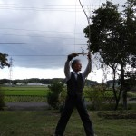 Taro Miura demonstrating Kyudo, Japanese archery