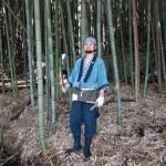 Katsuya Nonaka harvesting bamboo in Nagano