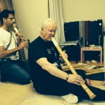 Dominic and Eric testing out flutes at Yamaguchi Shugetsu's home in Nara